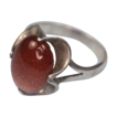Vintage Gold Stone Goldstone and Sterling Ring