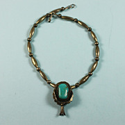 Native American Sterling and Turquoise Pendant Necklace Bench Beads