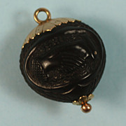 Victorian Carved Amber 10K Gold Pendant Memento Mori