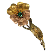14k Victorian Yellow and Rose Gold Floral Brooch Pin Faux  Emerald