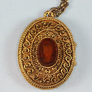 Corday Perfume Locket Necklace Cameo Design Vintage