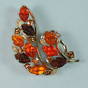Multi Color Rhinestone Vintage Brooch Signed Lisner
