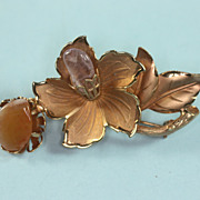 SALE Vintage Flower Brooch with Quartz Stone Accents