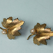 Vintage Cultured Pearl GF Maple Leaf Earrings Binder Bros.