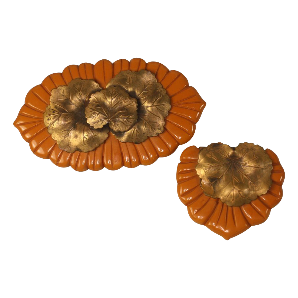 Vintage Pumpkin Orange Bakelite Brooch and Dress Clip Set Metal Overlay