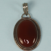 Vintage Carnelian Cabochon Sterling Pendant
