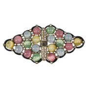 Art Deco Pastel Glass Moonstone and Rhinestone Brooch