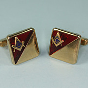 Masonic Red and Gold Tone Cuff Links Anson