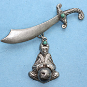 Fortune Teller Brooch Sword and  Dangle Turquoise Accents  Mexico
