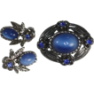 Blue Glass Moonstone Pin and Clip Earrings Blue Rhinestones