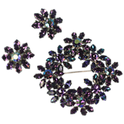 Purple and Blue Rhinestone Brooch and Earrings Signed Austria