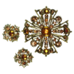 Maltese Cross Topaz Rhinestone Brooch and Earrings Set