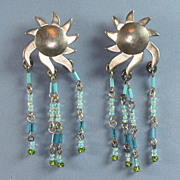 Sterling Earrings Sun Design Glass Bead Dangles Mexico