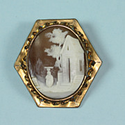 Vintage Carved Shell Cameo Gold Filled Rebecca at the Well