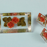 Embedded Flower Lucite Pin and Earrings Vintage