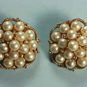 Vintage Faux Pearl and Rhinestone Clip Earrings