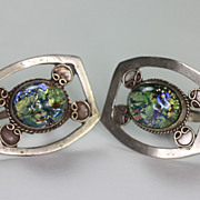 Vintage Mexican Art Glass Sterling Earrings Screw Back