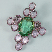 Art Deco Brooch Lavender and Green Lucite