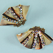 SALE PENDING Vintage Shell Earrings Aurora Borealis Rhinestones Screw Backs