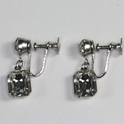 Vintage Crystal Rhinestone Dangle Earrings Emmons in Original Box