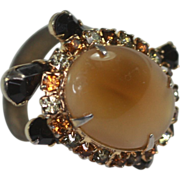Vintage Turtle Ring Yellow Stone with Rhinestones Adjustable