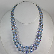 Vintage Two Strand Blue Aurora Borealis Crystal Bead Necklace