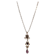 Transitional  Edwardian Art Deco Glass Amethyst Gold Filled Necklace