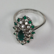 Emerald Green and Clear Crystal Ring 18K HGE Raised Setting