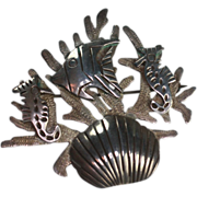 Taxco Sterling Brooch Shell Angel Fish and Seahorses