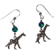 Vintage Sterling Giraffe Earrings with Azurite Malachite Pierced Dangle