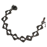 Vintage Marcasite and Sterling Link Bracelet