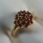 Vintage Gold Plated Cocktail Ring with Rubies Signed SETA