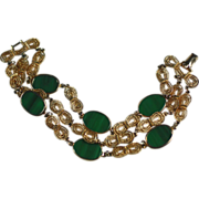 Vintage Coro Faux Jade Gold Tone Three Strand Bracelet