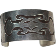Vintage Sterling Southwestern Style Cuff Bracelet Abstract Design