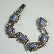 Vintage Mexican Sterling Silver Glass Opal Bracelet
