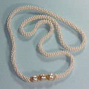 Woven Glass Pearl Necklace Larger Glass Pearl Accents