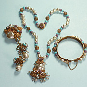 Miriam Haskell Full Parure Baroque Glass Pearls, Lavender and Blue Glass Beads