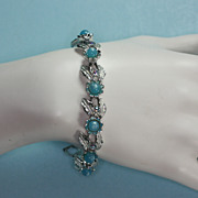 Judy Lee Forget-Me-Not Blue Moonglow and Silver Tone Bracelet