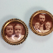 Antique Photographs Pair of Brooches Sisters  and Father