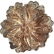 Silver Filigree Floral Brooch Pin Vintage