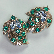 Blue and Teal Rhinestone Clip Earrings Foliate Design