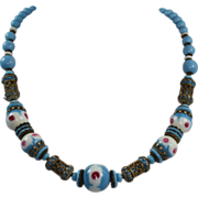 Czech Bohemian Lamp Work Bead Necklace Filigree Blue Beads