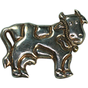Vintage Sterling Cow Brooch Pin Figural Mexico