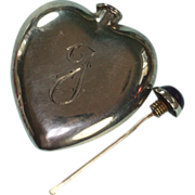 Sterling Heart Shaped Perfume Flask Amethyst Top Monogram J