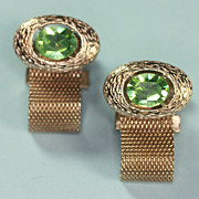 Vintage Dante Signed Green Glass Mesh Cuff Links Cufflinks