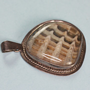 Sterling and Variegated  Banded Stone Pendant