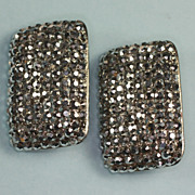 SALE PENDING Vintage Marcasite Diva Earrings Very Large Bold Clip Style