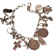 Vintage Sterling Charm Bracelet 18 Charms