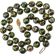 Chinese Painted Porcelain Bead Necklace Green and Black