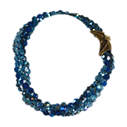 Multi Strand Blue AB Crystal Bead Necklace Fancy Clasp